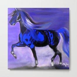 Horse Cobalt Blue Metal Print