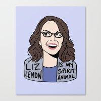 liz lemon Canvas Prints featuring Liz Lemon is my spirit animal by kate gabrielle