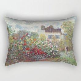 Claude Monet - The Artist's Garden in Argenteuil, A Corner of the Garden with Dahlias Rectangular Pillow