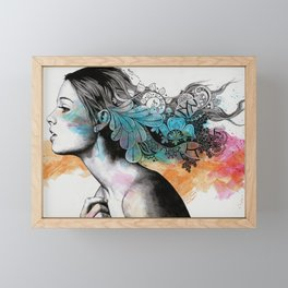 Moral Eclipse II (portrait of woman with doodles sketch) Framed Mini Art Print