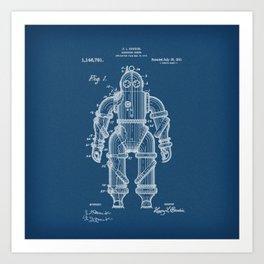 Submarine Armor Patent Blueprint 1915 Art Print