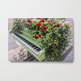 Piano with Flowers Metal Print