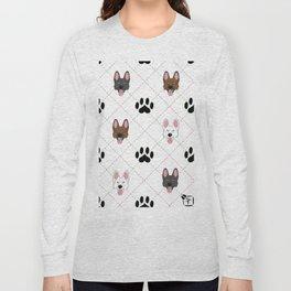 3 German Shepherd Colors Paw Print Pattern Long Sleeve T-shirt