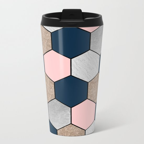 Navy and peach marble and foil hexagons Metal Travel Mug