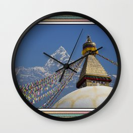 BOUDHANATH AND MACHAPUCHARE NEPAL COMPOSITE Wall Clock