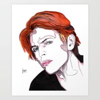 david bowie Art Prints featuring David Bowie by Joseph Walrave