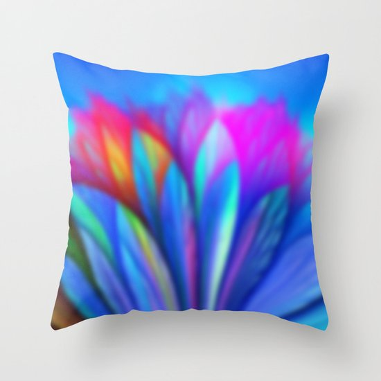 Flower Fantasy in Blue Throw Pillow