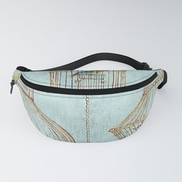 Vintage dream- Exotic colorful birds in cages on teal background Fanny Pack