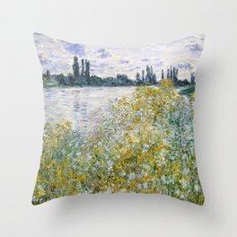 """Claude Monet """"Île aux Fleurs near Vétheuil"""" Throw Pillow"""