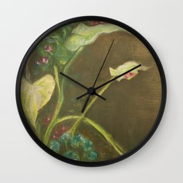 Lilly and Camelia pastel painting Wall Clock
