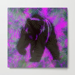 Bear with palm leaves Metal Print
