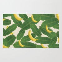 banana Area & Throw Rugs featuring banana by aisyrahma