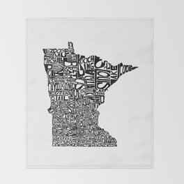 Typographic Minnesota Throw Blanket