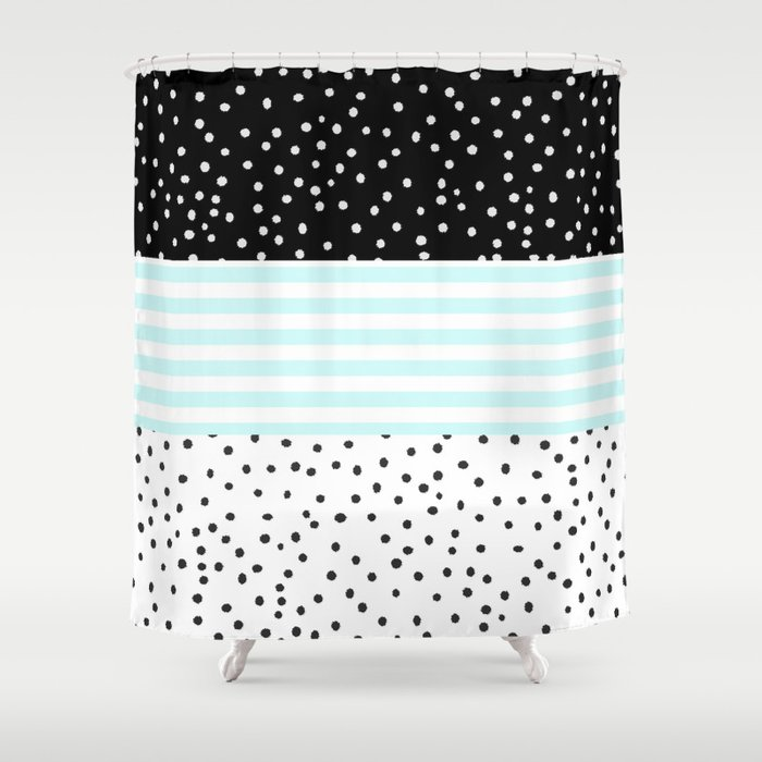 Modern Black White Teal Stripes Watercolor Polka Dots Shower Curtain