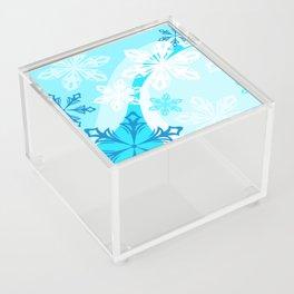 Blue Flower Art Winter Holiday Acrylic Box
