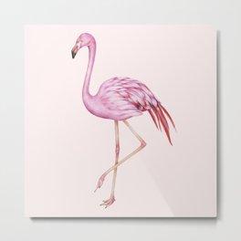 Blush Pink Watercolor Flamingo Art Metal Print