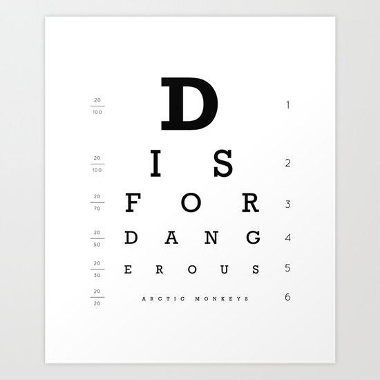 D is for Dangerous (White) Art Print