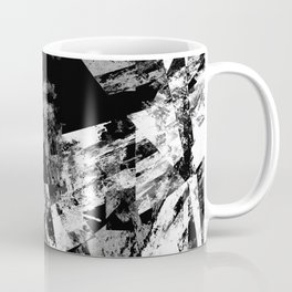Fractured Black And White - Abstract, textured, black and white artwork Coffee Mug