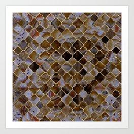 Quatrefoil Moroccan Pattern Brown Agate Art Print