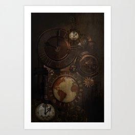 Brown steampunk clocks and gears Art Print