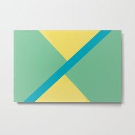 Blue-Green Yellow Green Diagonal Shape Pattern 2021 Color of the Year AI Aqua 098-59-30 Metal Print