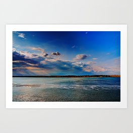 Leaving Harwich, peaceful seascape with dramatic god-rays Art Print