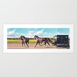 Mennonite Horse and Buggy Fractured Art Print
