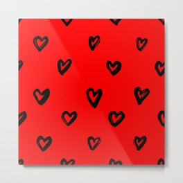 Hand Drawn Hearts in Black on Red Background Metal Print