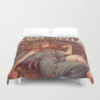 mucha Duvet Covers featuring BOHEMIA by Medusa Dollmaker
