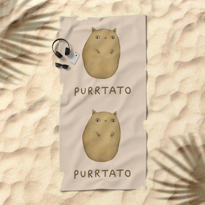 Purrtato Beach Towel