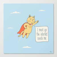 internet Canvas Prints featuring Internet Cat by Phil Jones