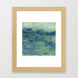 Abstract Blue Green Waves of Aqua Ocean Blue Mountains Framed Art Print