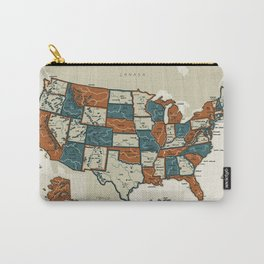 USA Vintage Map Carry-All Pouch