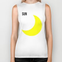 sun and moon Biker Tanks featuring SUN by try2benice