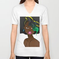 80s V-neck T-shirts featuring The 80s by RM2 Designs