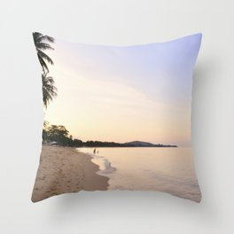 Silvery still sea at sunset Throw Pillow