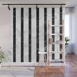 marble vertical stripe pattern - white marble black marble Wall Mural