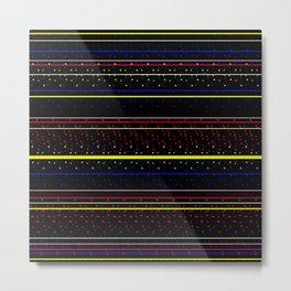 Simple Plaid No.004 Black Red Blue Yellow Metal Print