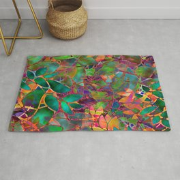 Floral Abstract Stained Glass G176 Rug