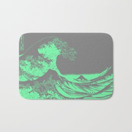 The Great Wave Green & Gray Bath Mat