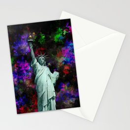 Mixed Media Statue of Liberty Stationery Cards