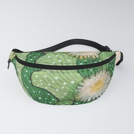 Blooming cactus, white & green, floral art Fanny Pack
