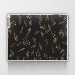 Abstract Gold and Black Musical Fall Leaves Laptop & iPad Skin