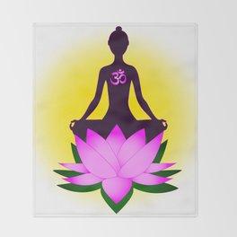 Yoga meditation in pink lotus flower Throw Blanket