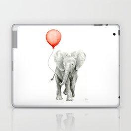 Baby Elephant Watercolor Red Balloon Nursery Decor Laptop & iPad Skin