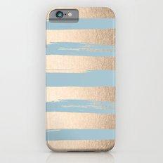 Painted Stripes Gold Tropical Ocean Sea Blue Slim Case iPhone 6s