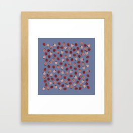 All over Modern Ladybug on Plum Background Framed Art Print