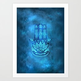 Hamsa Hand Magic Eye Blue Watercolor Art Art Print