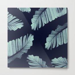 Navy Blue Banana Leaves Dream #2 #tropical #decor #art #society6 Metal Print