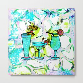 Summer Pool Party Cocktails , Watercolor Painting in Aqua Tequila Sunrise Colors Metal Print